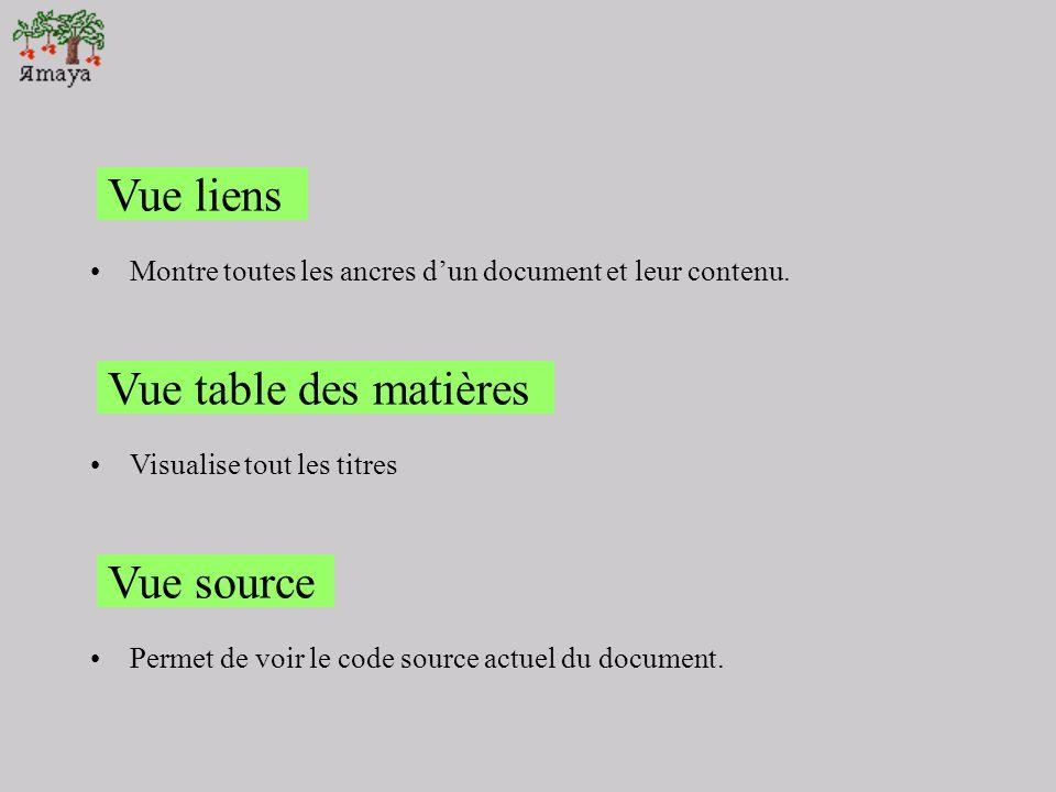Vue liens Vue table des matières Vue source