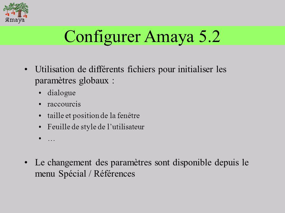 Configurer Amaya 5.2 Utilisation de différents fichiers pour initialiser les paramètres globaux : dialogue.