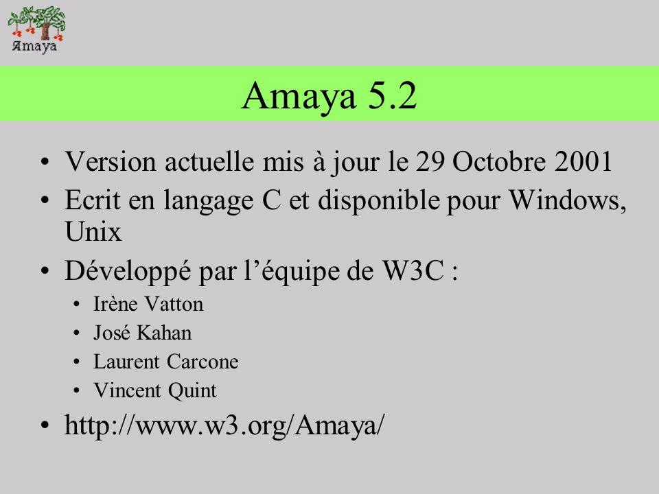 Amaya 5.2 Version actuelle mis à jour le 29 Octobre 2001