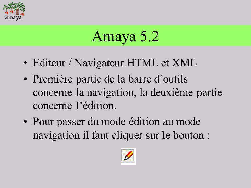 Amaya 5.2 Editeur / Navigateur HTML et XML