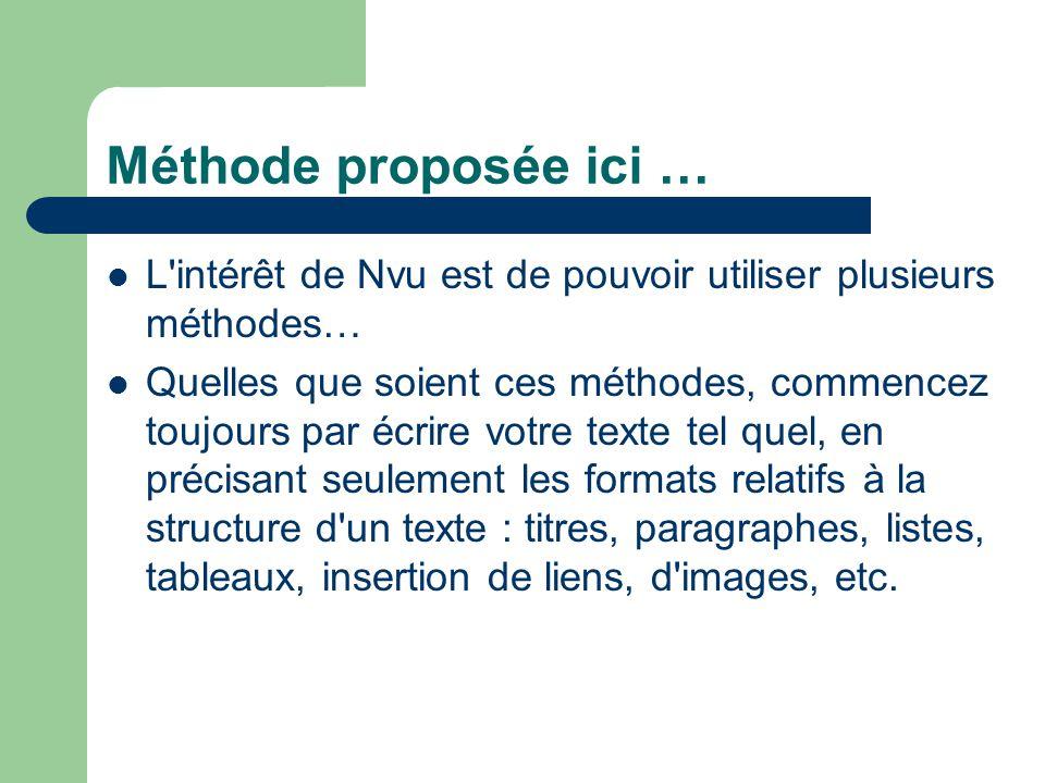 Méthode proposée ici … L intérêt de Nvu est de pouvoir utiliser plusieurs méthodes…
