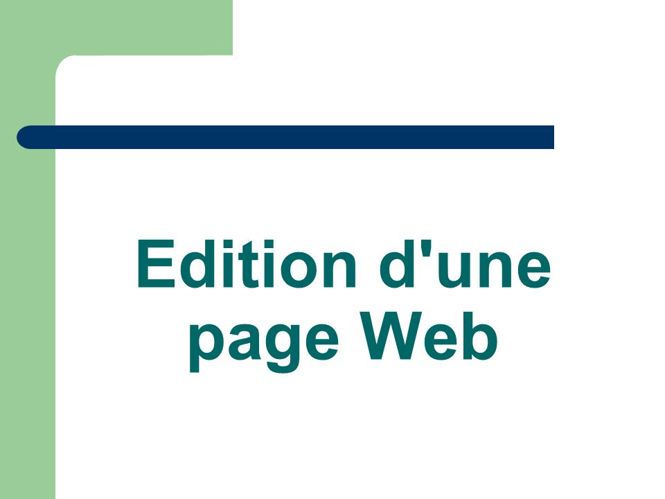 Edition d une page Web