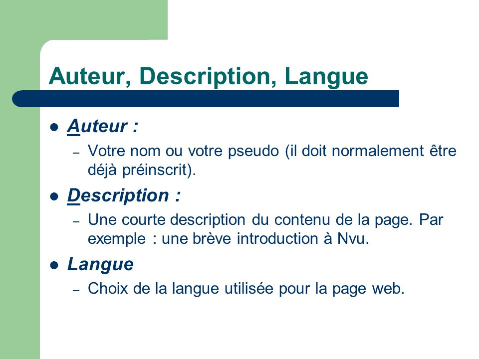 Auteur, Description, Langue