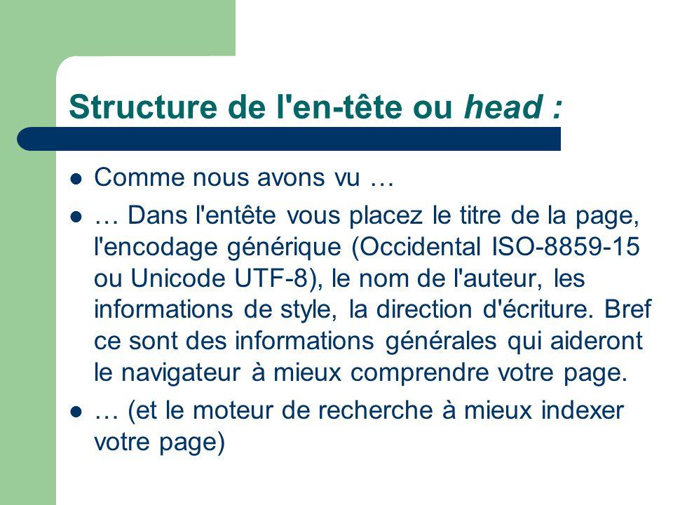 Structure de l en-tête ou head :