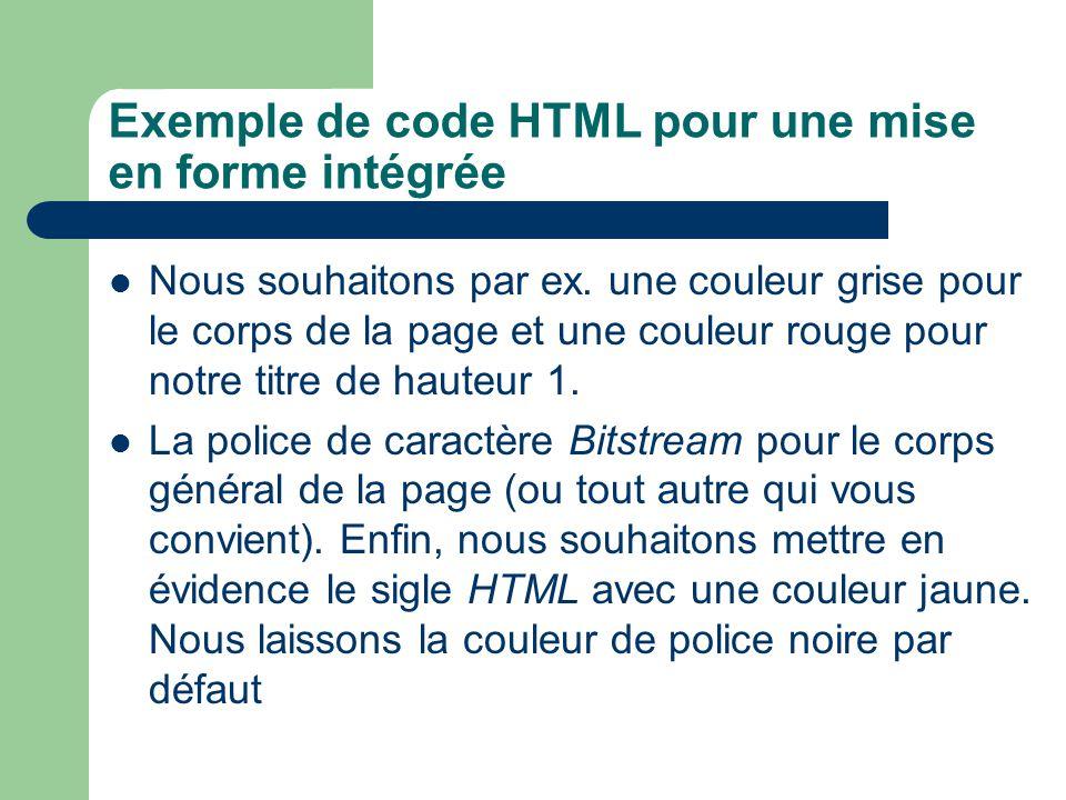 Exemple de code HTML pour une mise en forme intégrée