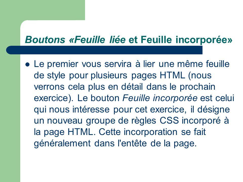 Boutons «Feuille liée et Feuille incorporée»