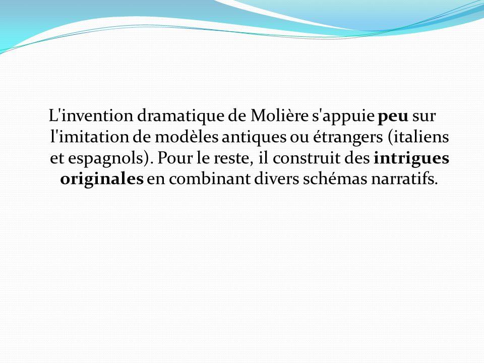 L invention dramatique de Molière s appuie peu sur l imitation de modèles antiques ou étrangers (italiens et espagnols).