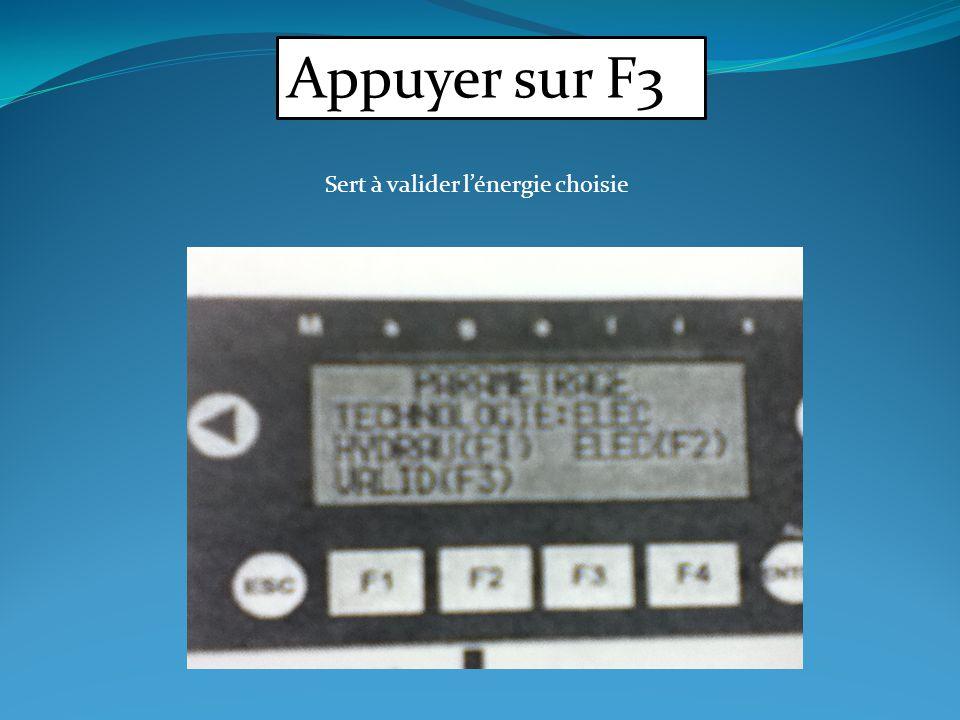 Appuyer sur F3 Sert à valider l'énergie choisie
