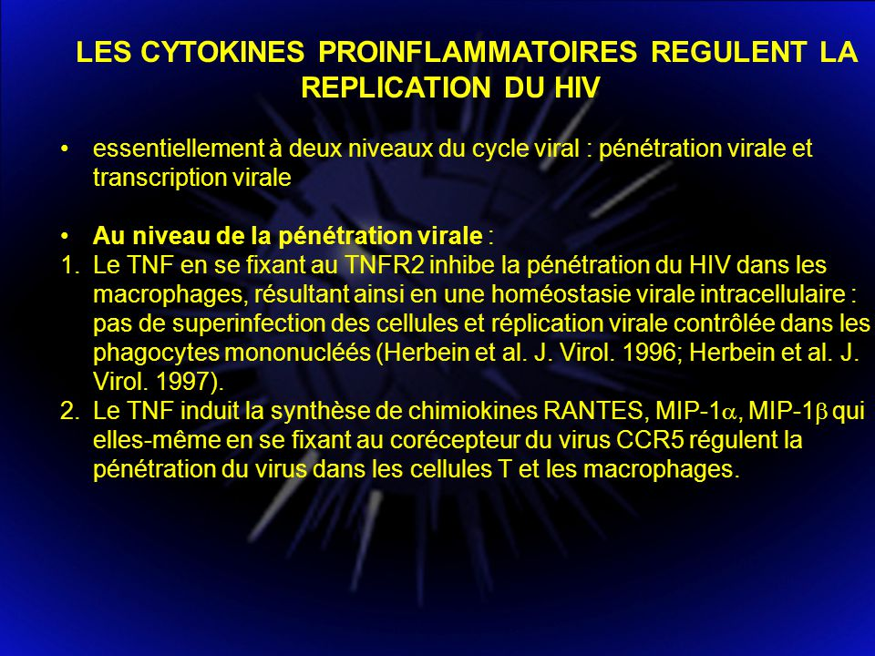 LES CYTOKINES PROINFLAMMATOIRES REGULENT LA REPLICATION DU HIV