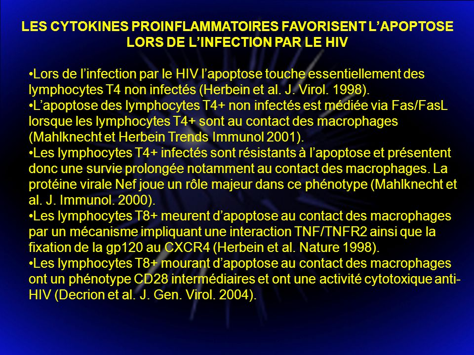 LES CYTOKINES PROINFLAMMATOIRES FAVORISENT L'APOPTOSE LORS DE L'INFECTION PAR LE HIV