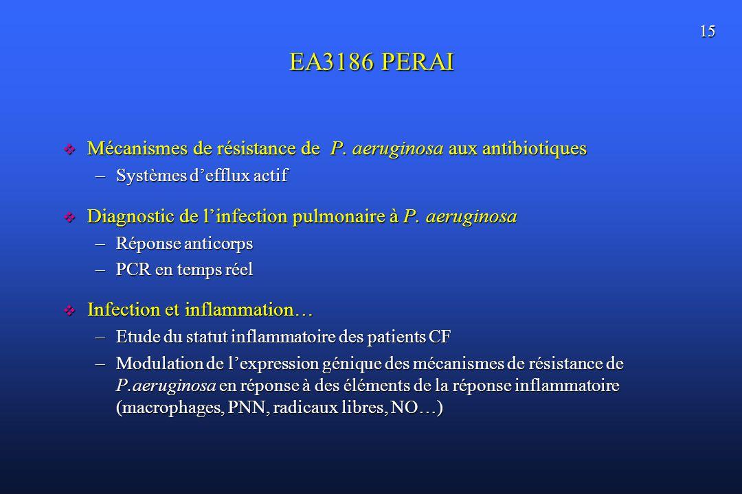 EA3186 PERAI Mécanismes de résistance de P. aeruginosa aux antibiotiques. Systèmes d'efflux actif.