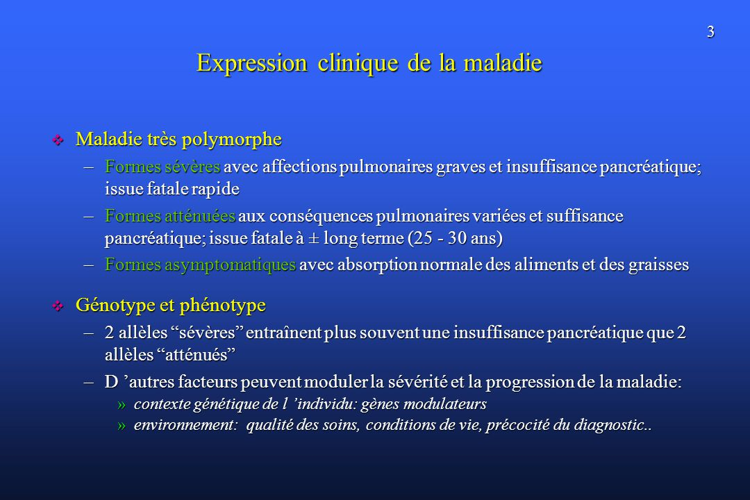 Expression clinique de la maladie