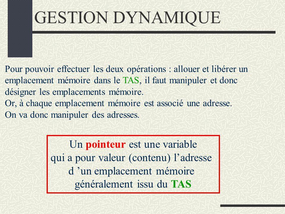 GESTION DYNAMIQUE Un pointeur est une variable