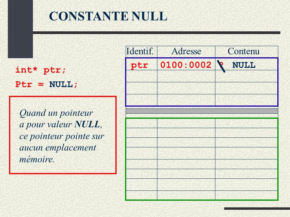 CONSTANTE NULL Identif. Adresse Contenu ptr 0100:0002 NULL int* ptr;
