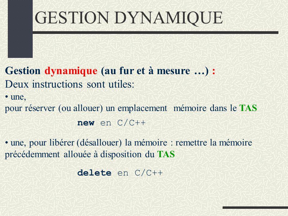 GESTION DYNAMIQUE Gestion dynamique (au fur et à mesure …) :