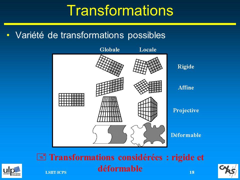  Transformations considérées : rigide et déformable