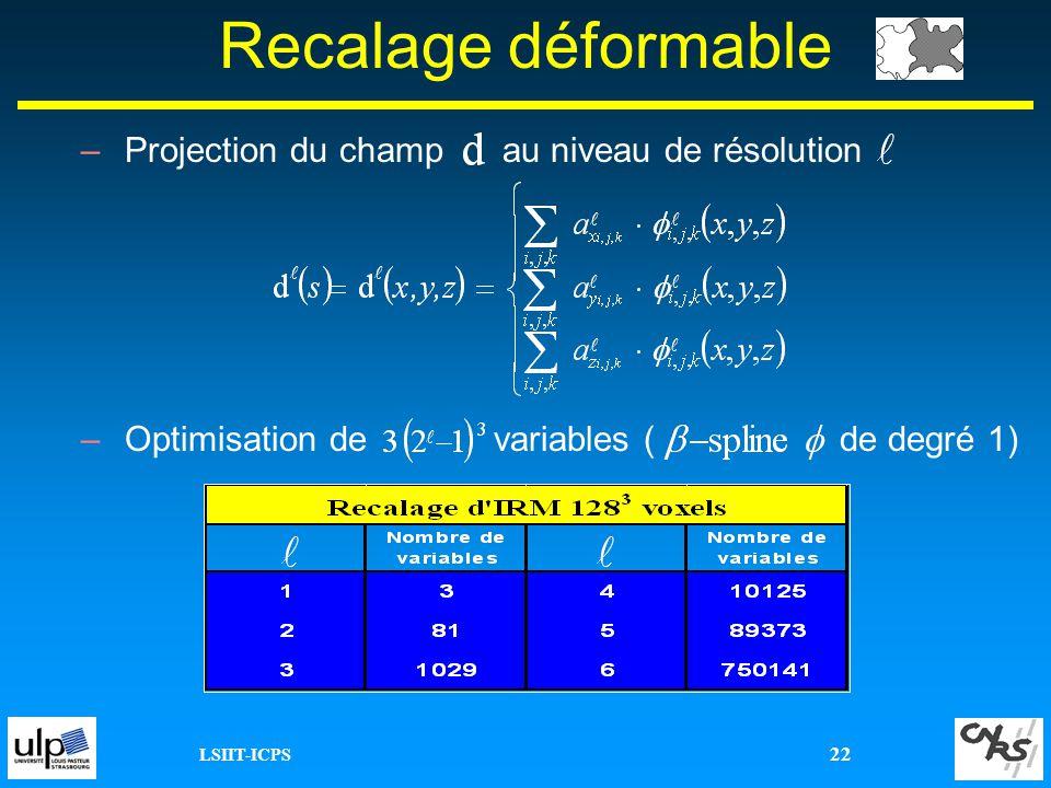 Recalage déformable Projection du champ au niveau de résolution