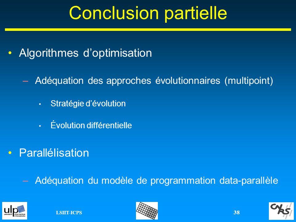 Conclusion partielle Algorithmes d'optimisation Parallélisation