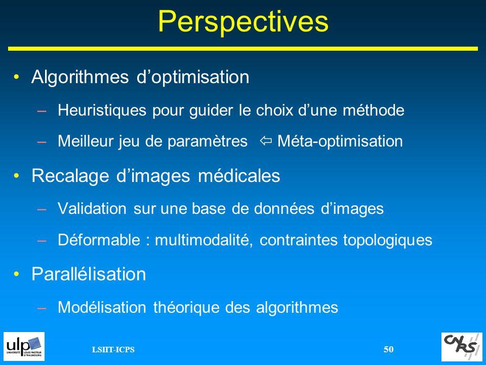 Perspectives Algorithmes d'optimisation Recalage d'images médicales