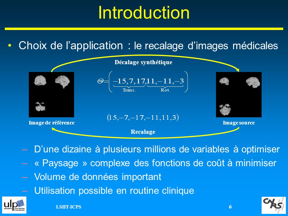 Introduction Choix de l'application : le recalage d'images médicales