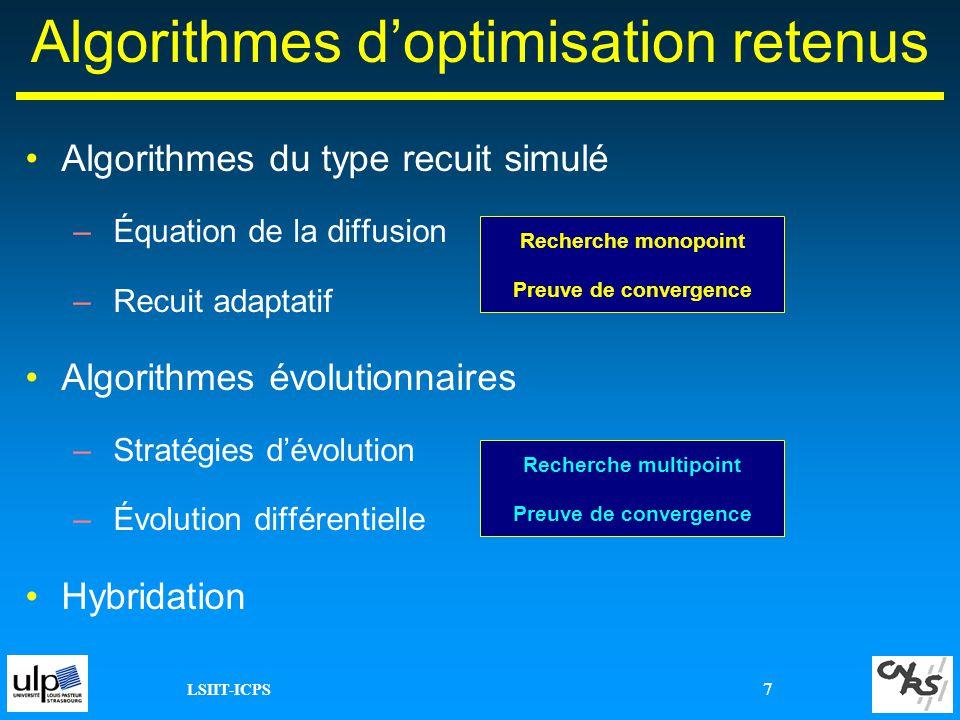 Algorithmes d'optimisation retenus