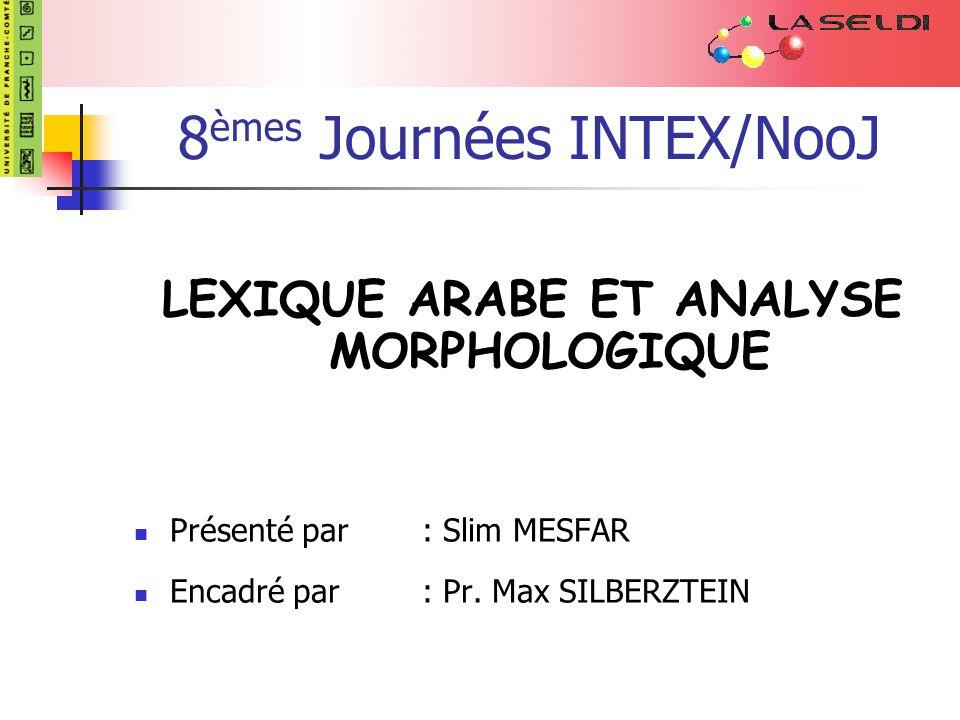 8èmes Journées INTEX/NooJ