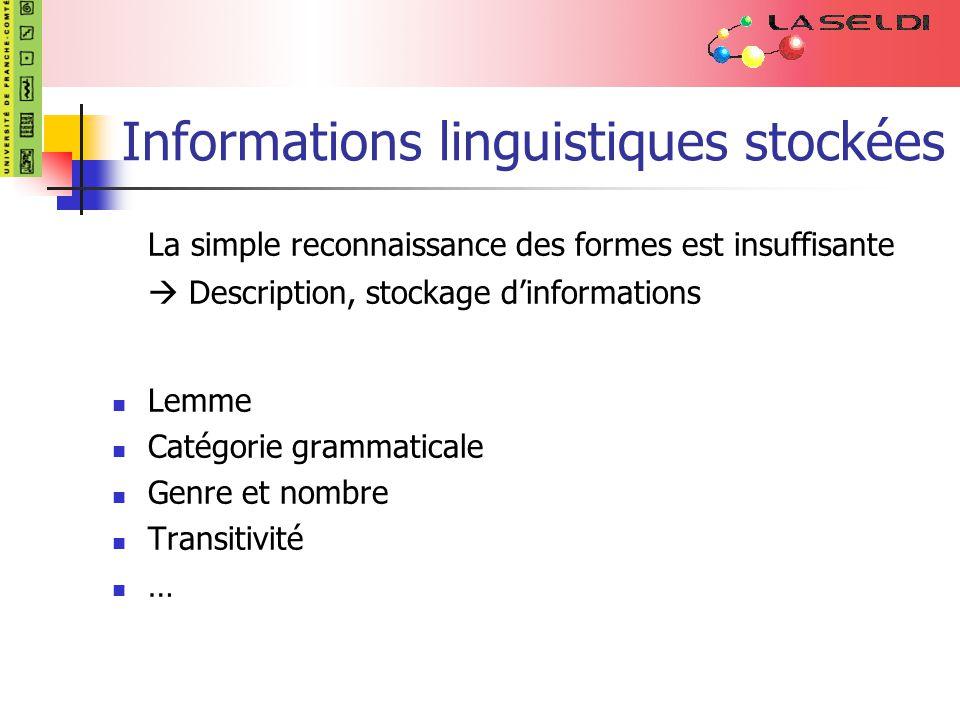 Informations linguistiques stockées