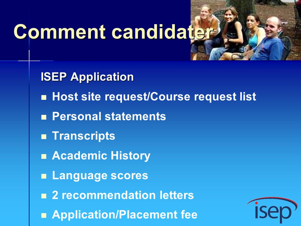 Comment candidater ISEP Application