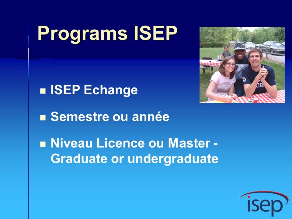 Programs ISEP ISEP Echange Semestre ou année