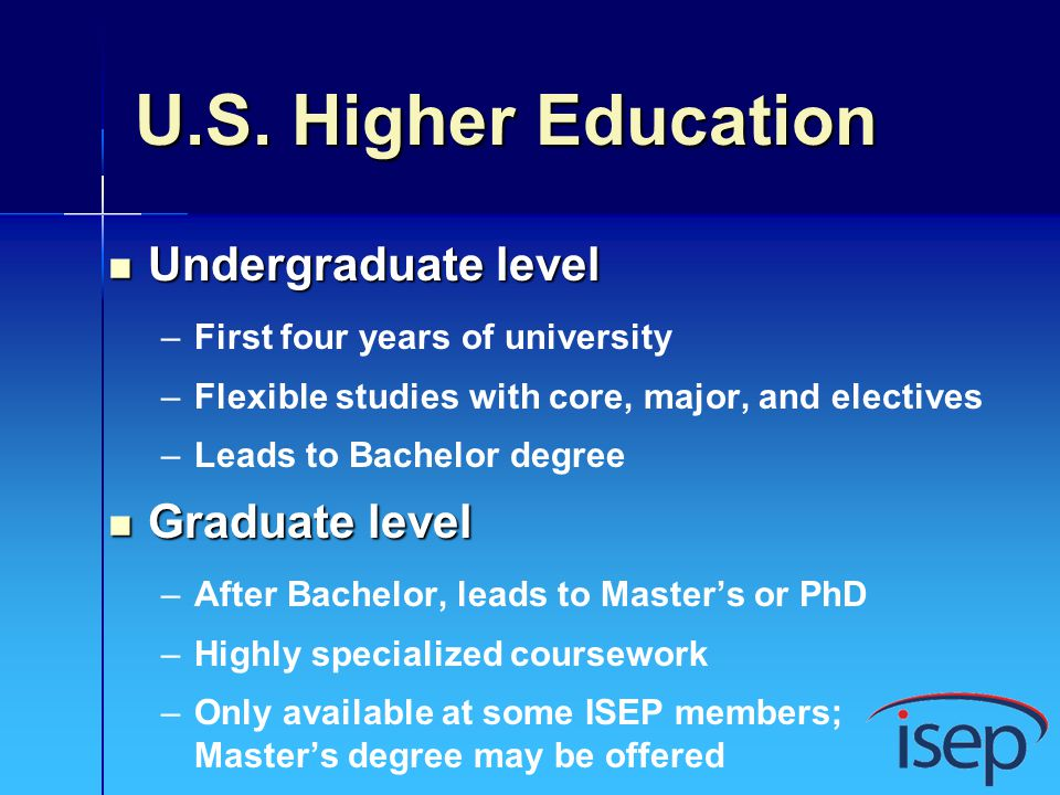 U.S. Higher Education Undergraduate level Graduate level