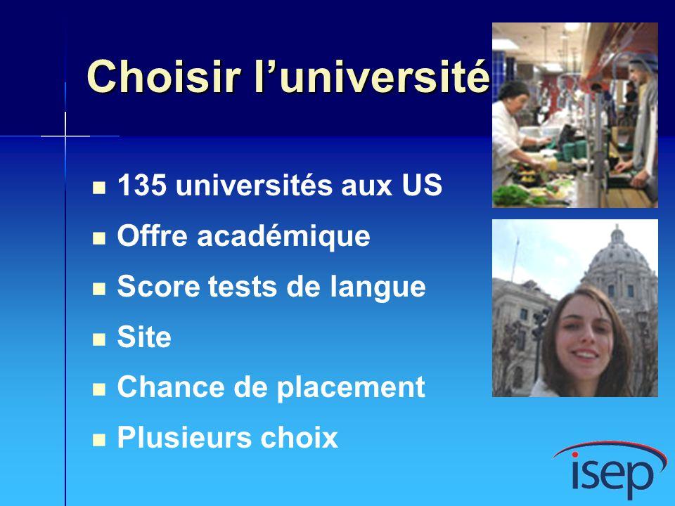 Choisir l'université 135 universités aux US Offre académique