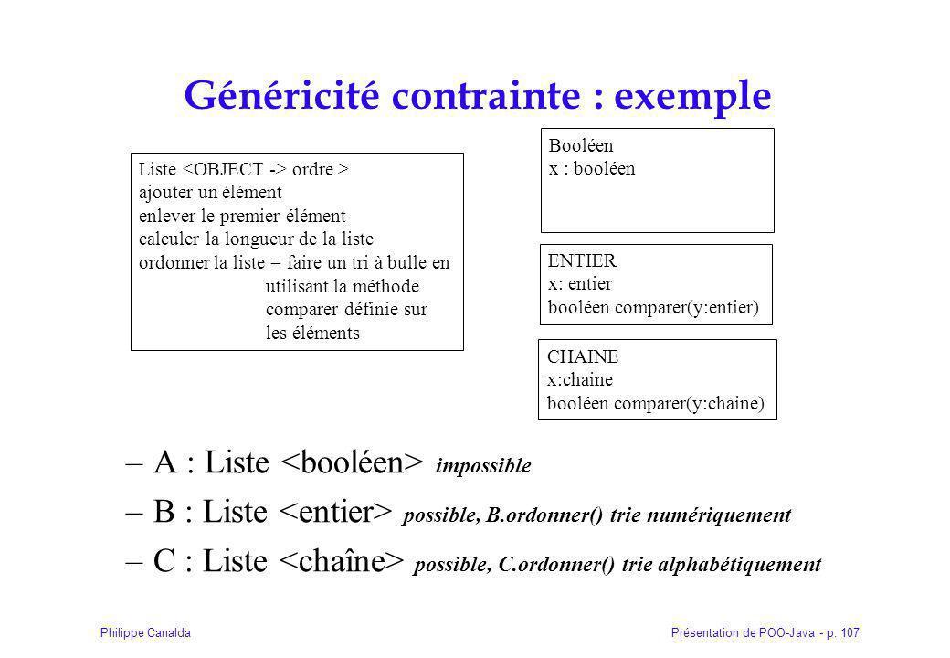 Généricité contrainte : exemple