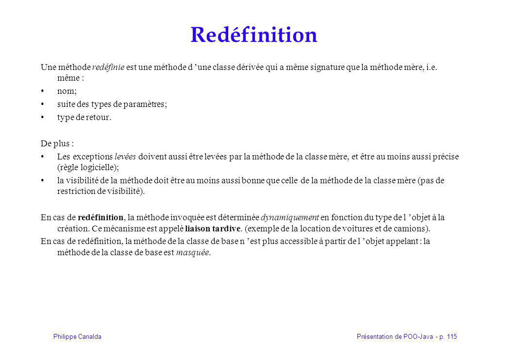 Redéfinition Une méthode redéfinie est une méthode d 'une classe dérivée qui a même signature que la méthode mère, i.e. même :