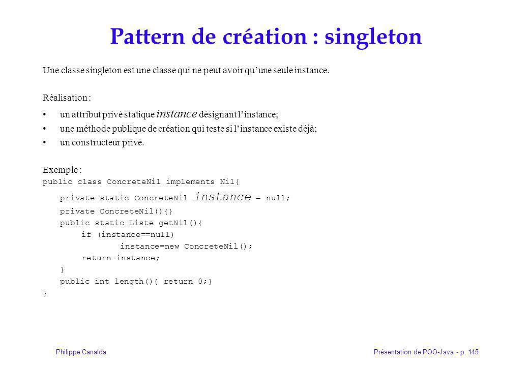 Pattern de création : singleton
