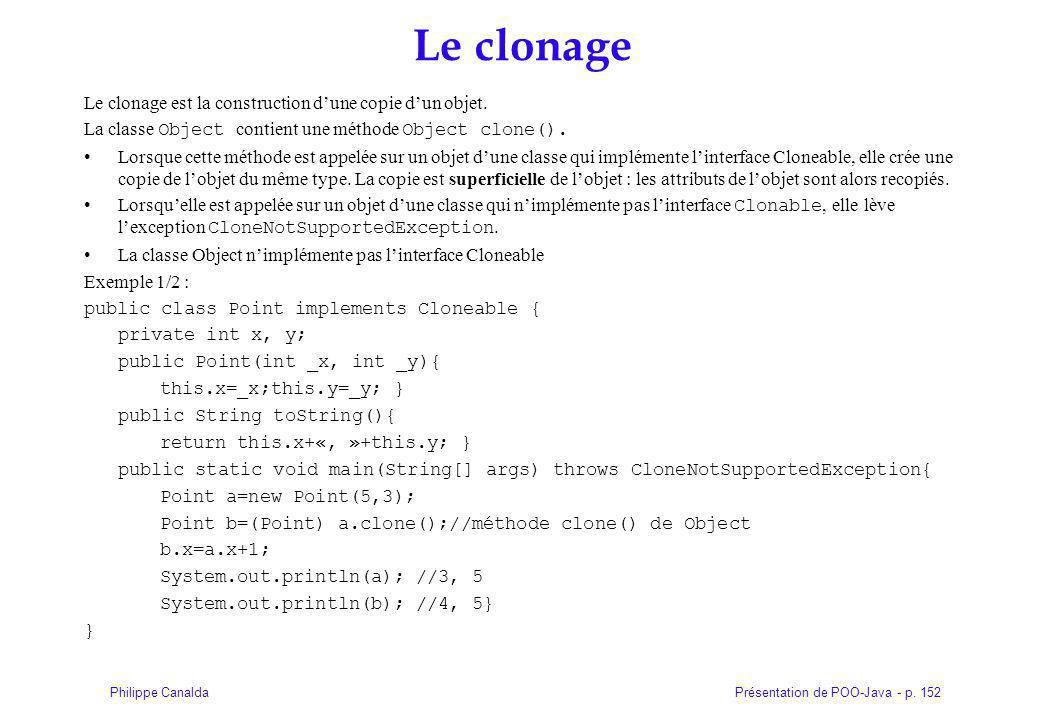 Le clonage Le clonage est la construction d'une copie d'un objet.