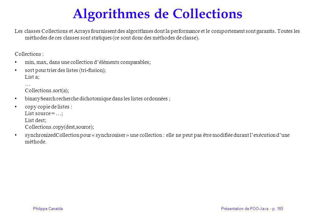 Algorithmes de Collections