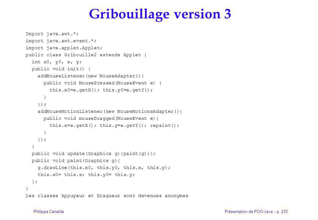 Gribouillage version 3 Import java.awt.*; import java.awt.event.*;