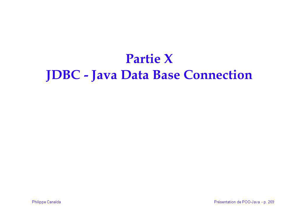 Partie X JDBC - Java Data Base Connection