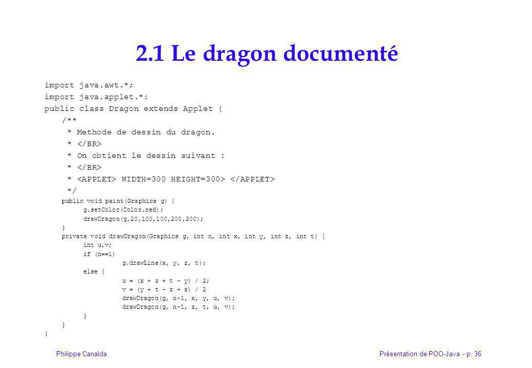 2.1 Le dragon documenté import java.awt.*; import java.applet.*: