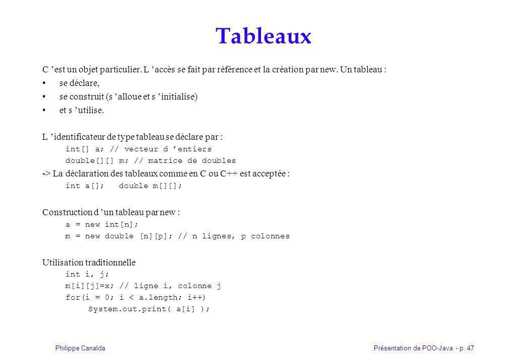 Tableaux C 'est un objet particulier. L 'accès se fait par référence et la création par new. Un tableau :