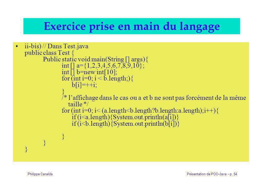 Exercice prise en main du langage