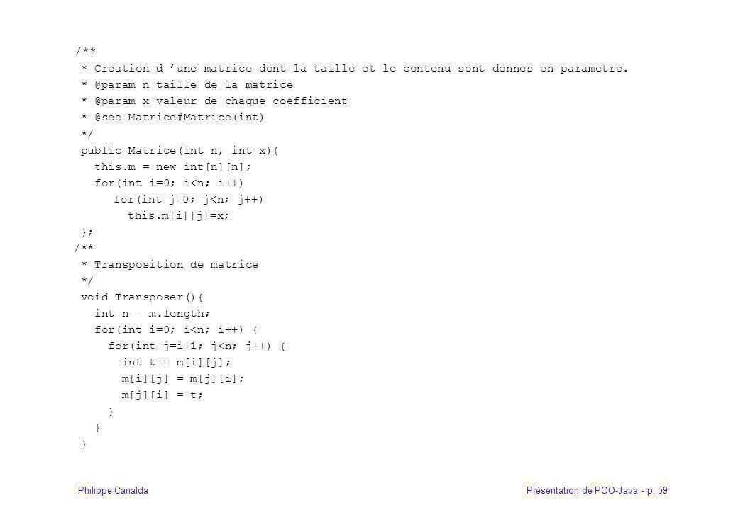 /** * Creation d 'une matrice dont la taille et le contenu sont donnes en parametre. * @param n taille de la matrice.