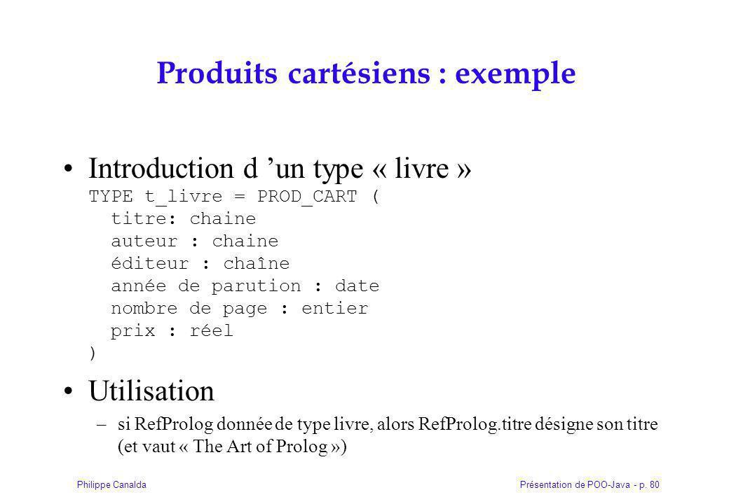 Produits cartésiens : exemple