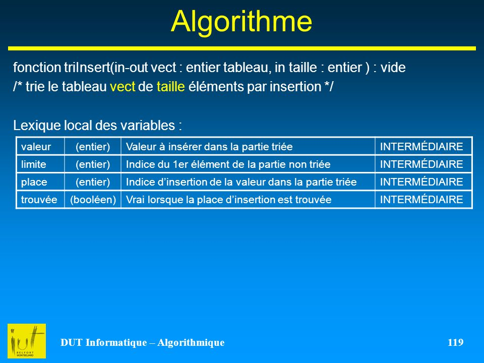 DUT Informatique – Algorithmique 119