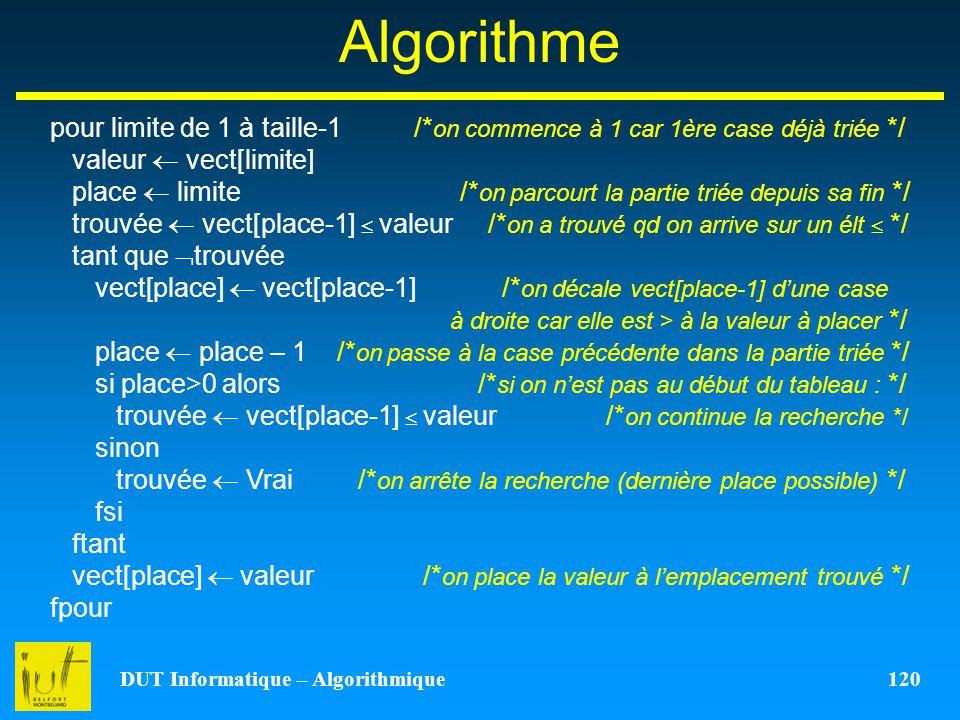 DUT Informatique – Algorithmique 120