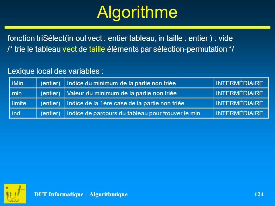 DUT Informatique – Algorithmique 124