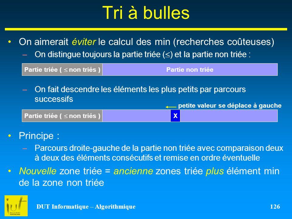 Tri à bulles On aimerait éviter le calcul des min (recherches coûteuses) On distingue toujours la partie triée () et la partie non triée :