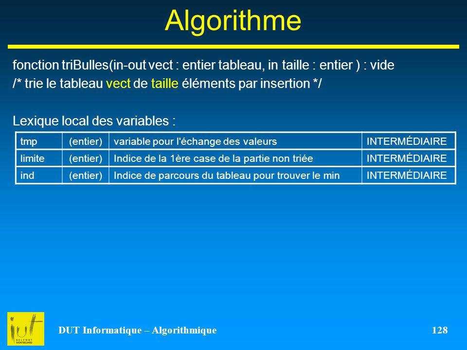 DUT Informatique – Algorithmique 128