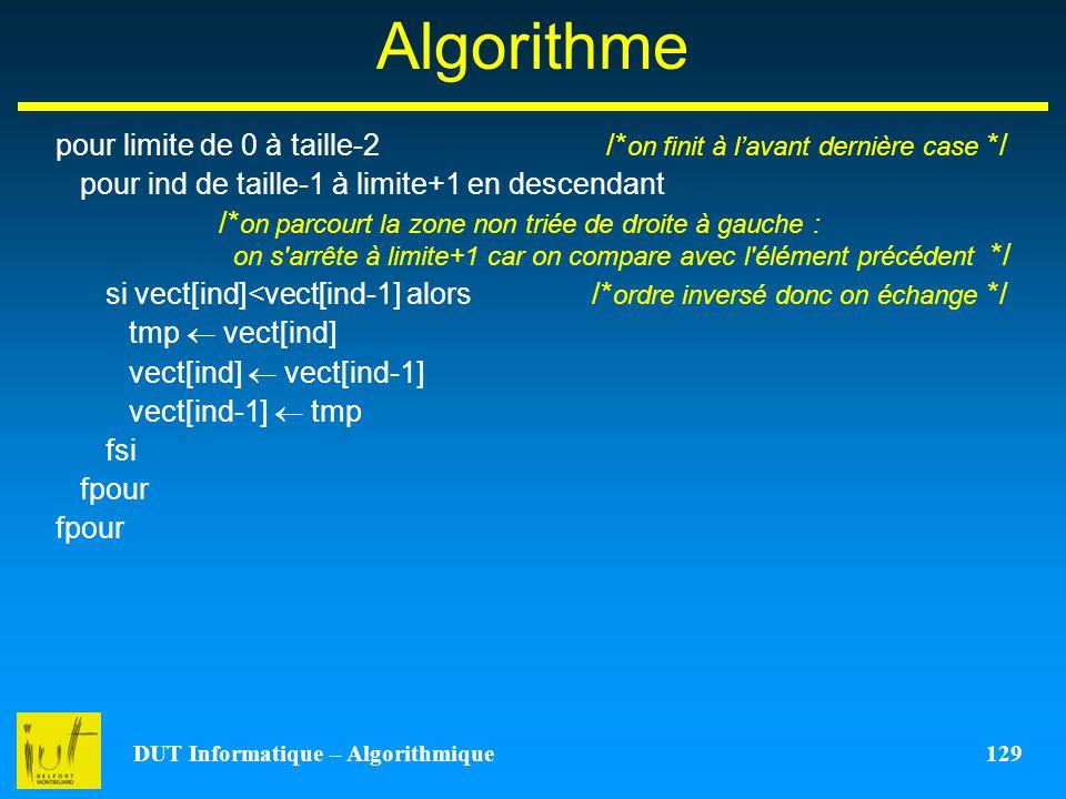 DUT Informatique – Algorithmique 129