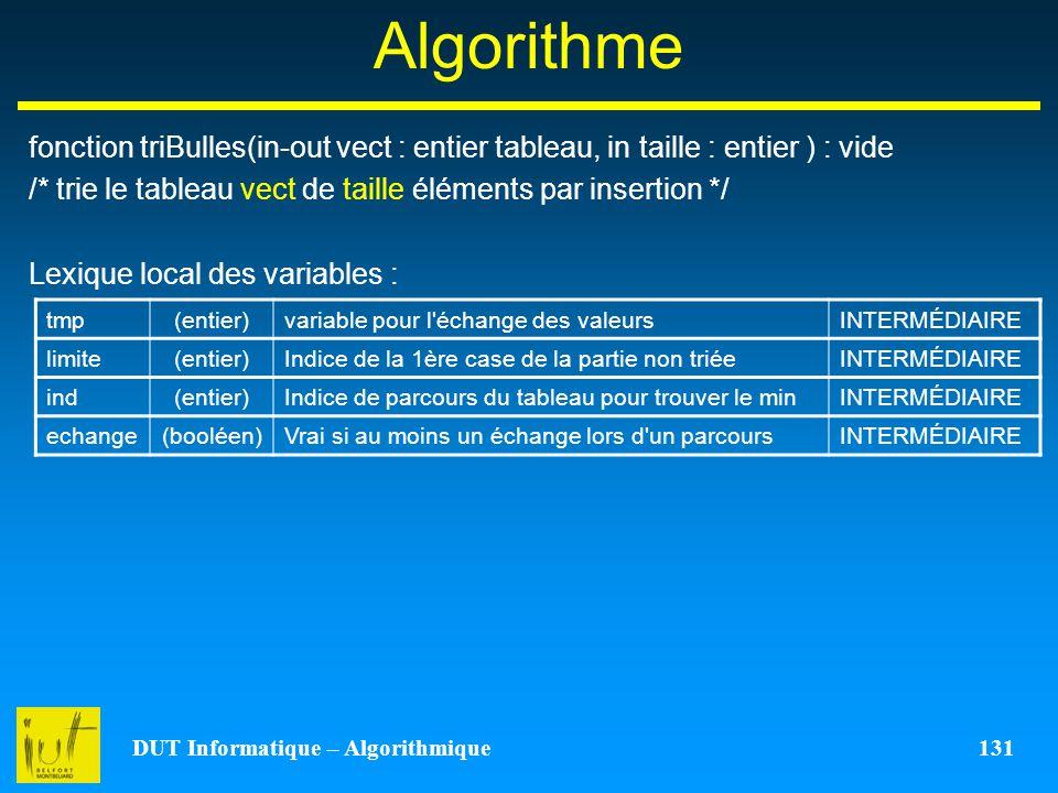 DUT Informatique – Algorithmique 131